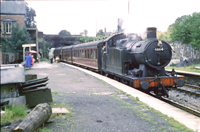 Vol 19: 6664 is getting ready to leave Neath Riverside on the afternoon train for Aberdare, 16th August 1962