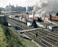 Vol 20: A lovely panoramic view of Dumfries station and yards with a Black 5 heading north, Easter Monday 1963