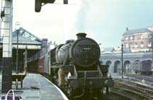 Black 5 44847 prepares to leave Nottingham Victoria for London Marylebone in 1966.