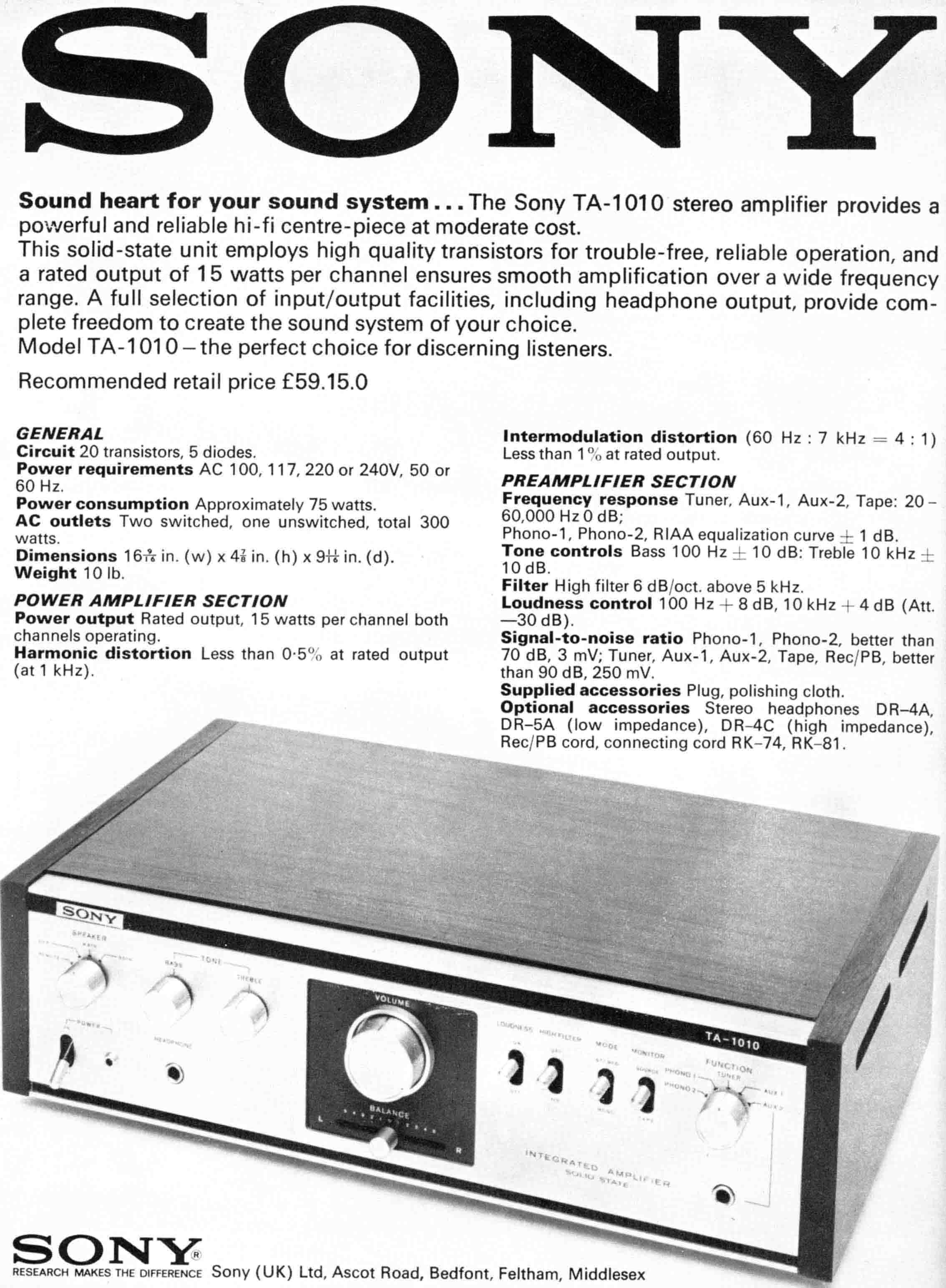 Sony TA-1010 Amplifier.
