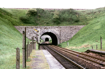 Both Bincombe Tunnels are visible in this 1967 view from the closed (1957) Upwey Wishing Well Halt.